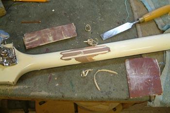 Martin Turner's Gibson Thunderbird IV  headstock repair